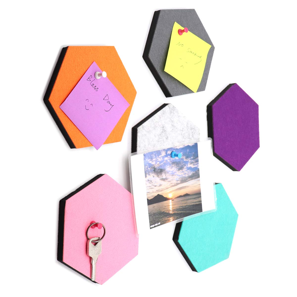 Ekatoo Set of 6 Hexagon Felt Pin Board Self Adhesive Bulletin Memo Photo Cork Boards Colorful Foam Wall Decorative Tiles with 6 Pushpins - 5.5 x 5 x 0.5 inches