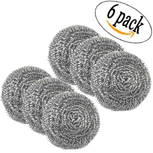 Home Products Stainless Steel Scouring Pad Kitchen Cleaners ( 6 Cleaners Included) Heavy Duty Steel Wool 100 Grams Stainless Steel Scouring Sponge