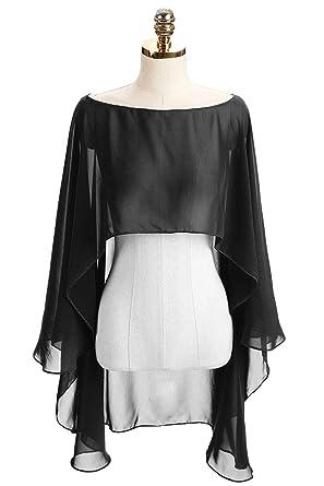 DINGZAN Chiffon Wedding Capes Evening Dress Bridesmaid Stole Formal Scarves  Bridal Wraps Long Shawls (Black 8a1633a7660c