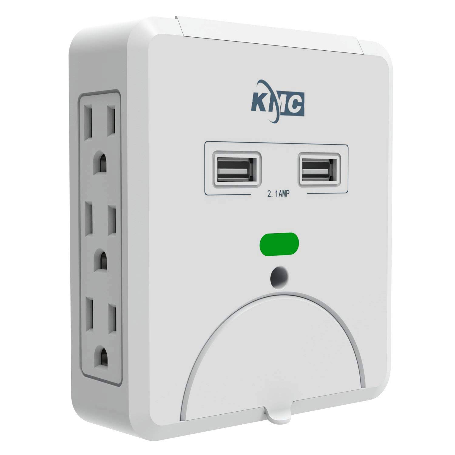 KMC Wall Surge Protector,6 Outlet Wall Mount Power Strip with 2 USB Charging Ports Total 2.4 AMP,Dual Slide-Out Smartphone Holders Design, Portable for Travel/Home/Office Use,ETL Certified