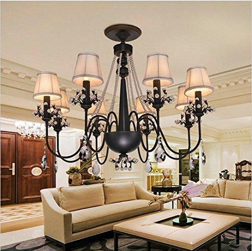 GOWE Luxury gold or black finish crystal chandelier with shade indoor decoration lighting fixture lustres de cristal chandelier Lampshade Color:orange