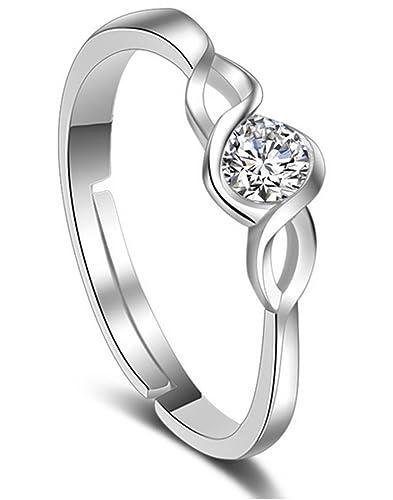 38bd2abe6895 Karatcart Platinum Plated Elegant Classic Crystal Adjustable Ring for Women
