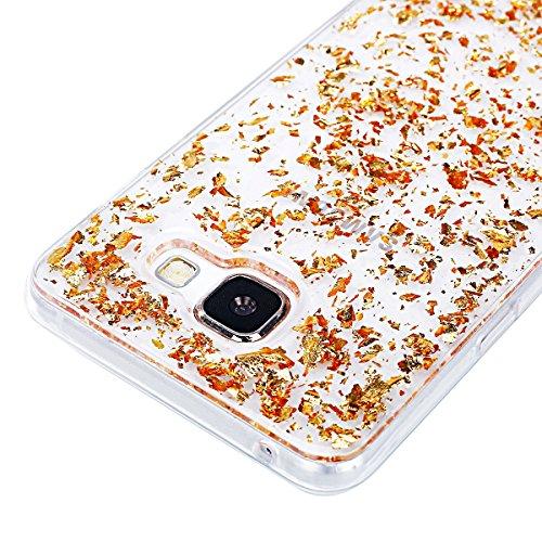 Funda Cover Samsung Galaxy A5(2017) ,Ukayfe Bling Funda Case de Silicona TPU para Samsung Galaxy A5(2017) Carcasa del brillo del Crystal Centelleo Plastica Suave Transparente Soft Clear Case Cover Fun Dorado