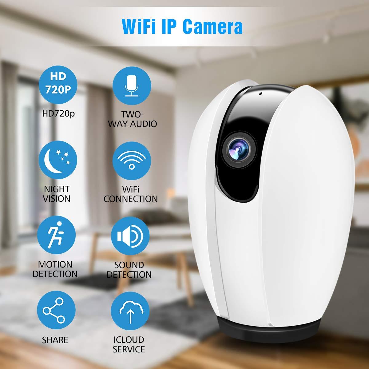 Telecamera WiFi, DIGOO 720P HD Telecamera IP, Telecamera di Sorveglianza Wifi Wireless Camera Interno, Telecamera videosorvegilanza con Audio Bidirezionale,Modalità Notturna a Infrarossi Videocamera di sorveglianza Camera, Camera WIFI Monit