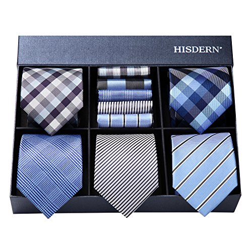HISDERN Lot 5 PCS Classic Men's Silk Tie Set Necktie & Pocket Square with Gift Box,T5-s5,One - And Silk Tall Big Tie