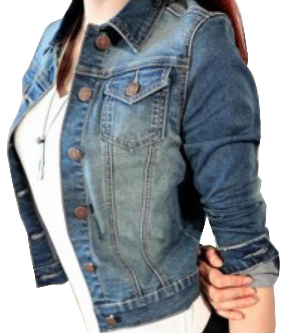 HMX Womens Classic Lapel Washed Cropped Denim Jacket
