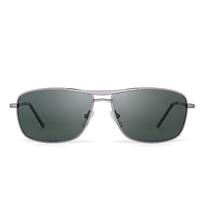 Jim Halo Gafas de Sol Polarizadas Rectangulares Conducir Marco Con Bisagras de Resorte Peso Ligero Hombre