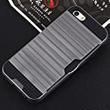 5s case with sliding card holder - iPhone SE 5SE 5 5S, Forhouse Anti-scratch Protective Texture Dual Layer Hybrid Armor Shockproof Case Sliding Card Slot Wallet Holder case for iPhone SE 5SE 5 5S (Grey)
