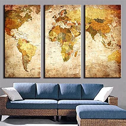 PPD Multiple Frames Wall Painting 3 Panels Painting Vintage World ...