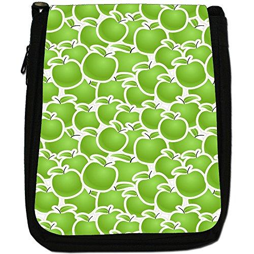 Apple Shoulder Medium Size Green Graphical Black Canvas Fruit Bag I8OwOqR
