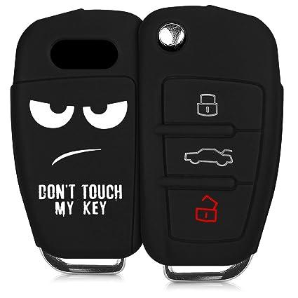 kwmobile Funda compatible con llave plegable de 3 botones para coche Audi - Carcasa protectora [suave] de [silicona] - diseño Dont touch my Key