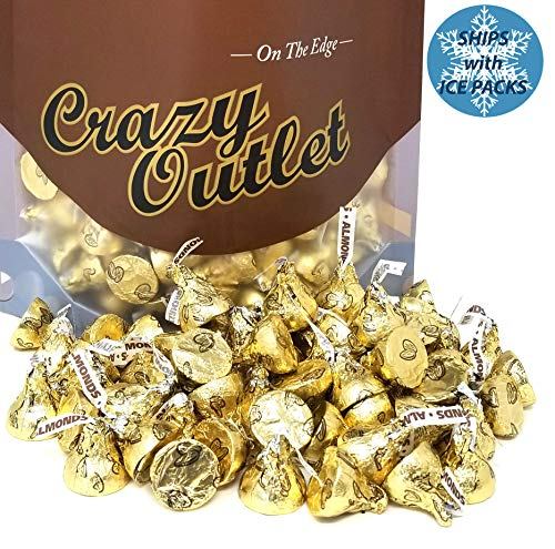 CrazyOutlet Pack - Herhhey's Kisses Gold Foils Milk Chocolate with Almonds, Bulk Candy 2 lbs]()