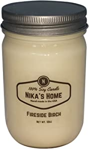 Nika's Home Fireside Birch Soy Candle - 12oz Mason Jar