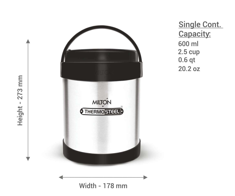 5c132ddf9143 Milton Royal 4 Insulated Stainless Steel Tiffin Box, 600 ml, Steel Plain