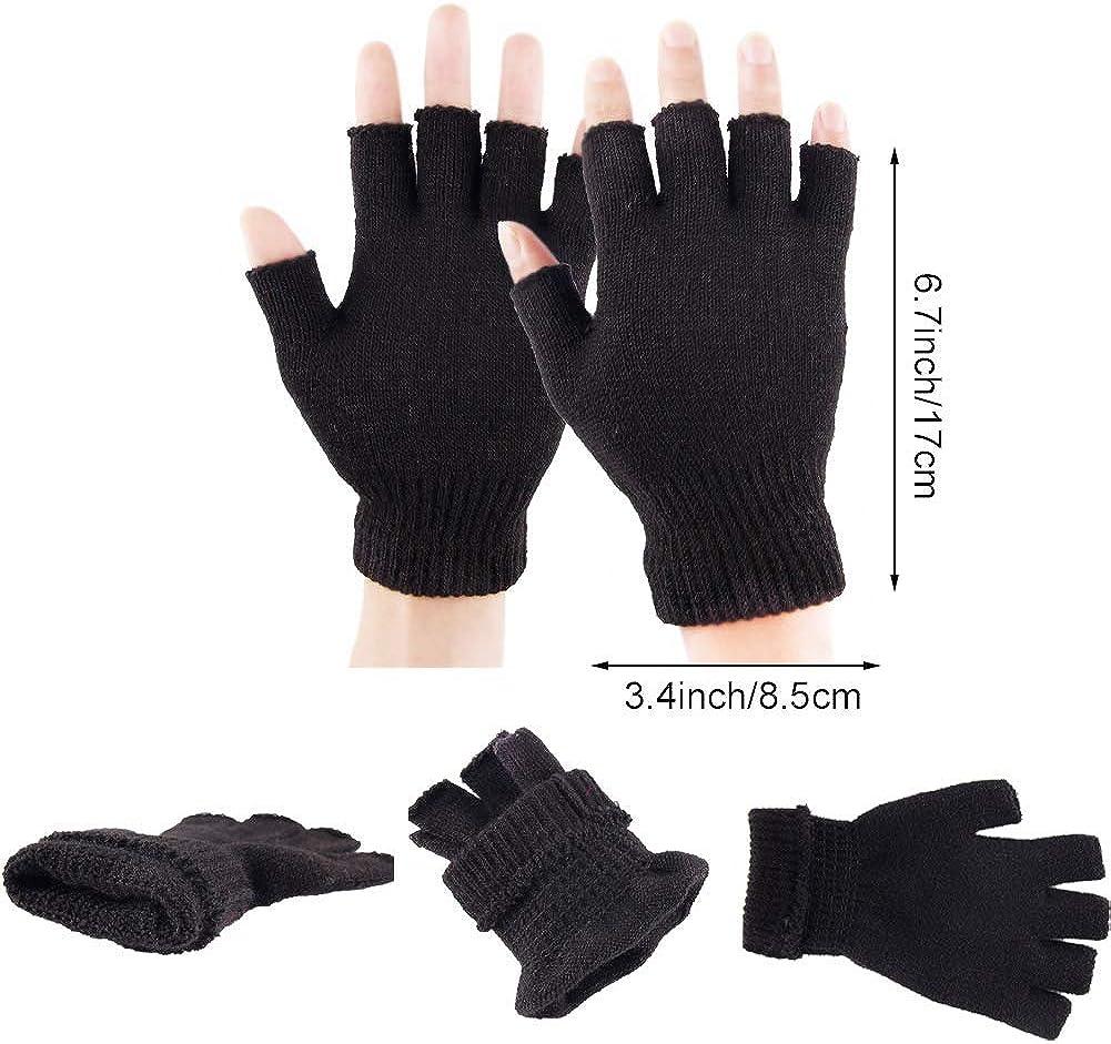 2 Pair Unisex Half Finger Gloves Winter Stretchy Knit Fingerless Gloves in Common Size