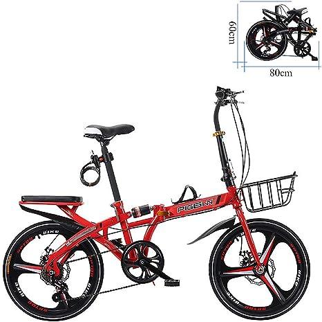 ZEIYUQI Bicicleta Portátil para Adultos Plegable 20 Pulgadas Los Frenos De Disco Dobles Son Más Seguros De Manejar Adecuado,Rojo,A: Amazon.es: Deportes y aire libre