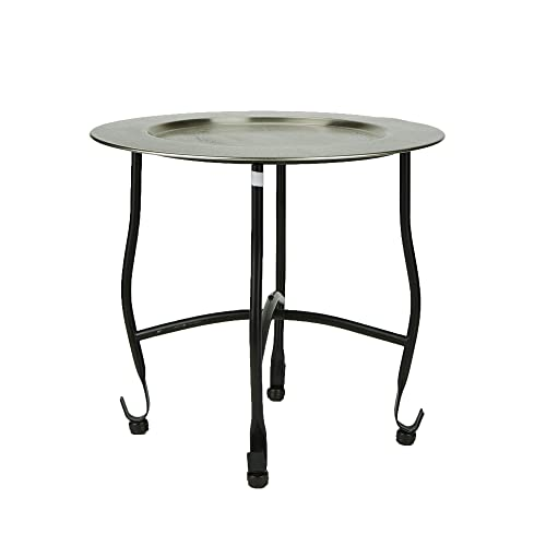 Mind Reader TABTRAY-SIL Modern, Detachable Tray, Elegant D cor, Lightweight Aluminum Moroccan Table, Silver