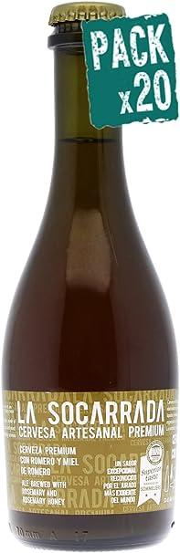 Pack 20 Cerveza artesanal premium La Socarrada, botella de 33 cl, triple malta, doble fermentación, elaborada con romero y miel de romero: Amazon.es: Alimentación y bebidas