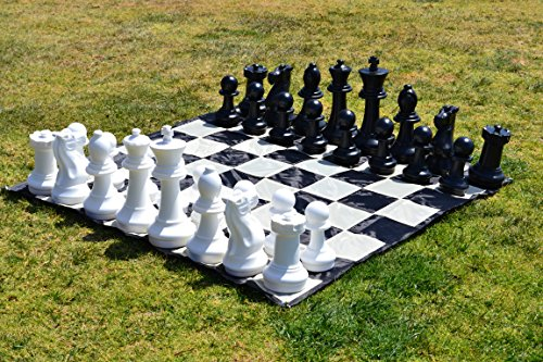 MegaChess Large Chess Set - Black and White - Plastic - 16 inch King by MegaChess
