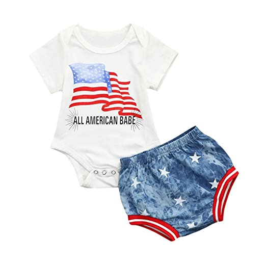 d92782512274 Amazon.com  Dinlong 2Pcs Baby Boy Girl Clothes Letter Star Striped ...