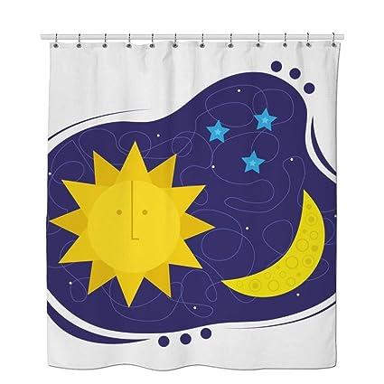 GDaniel Stars Shower Curtain Cartoon Camper Sun And Moon