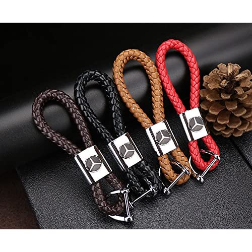 Elégant Corde PU cuir clé de voiture sac porte-clés personnalisés pour MERCEDES Café marron
