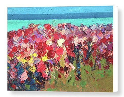 Abstract Wild Coast Beach Canvas Art Prints Red Flowers Seascape Home Decoration Ocean Office Decor Sea Christmas Gifts Men Women from Original Oil Painting of Agostino (Red Hat Rose Bouquet)