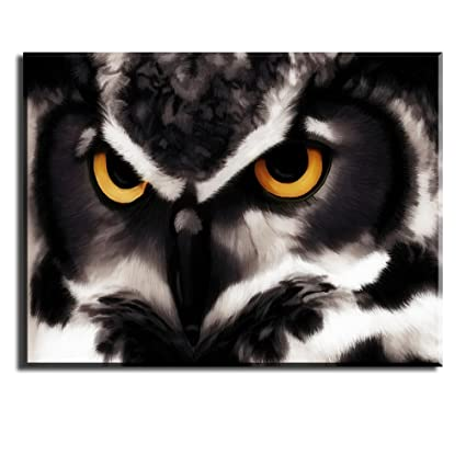 PIY Owl Wall Art With Frame, Owls Picture Canvas Prints For Bedroom,  Animals Wall