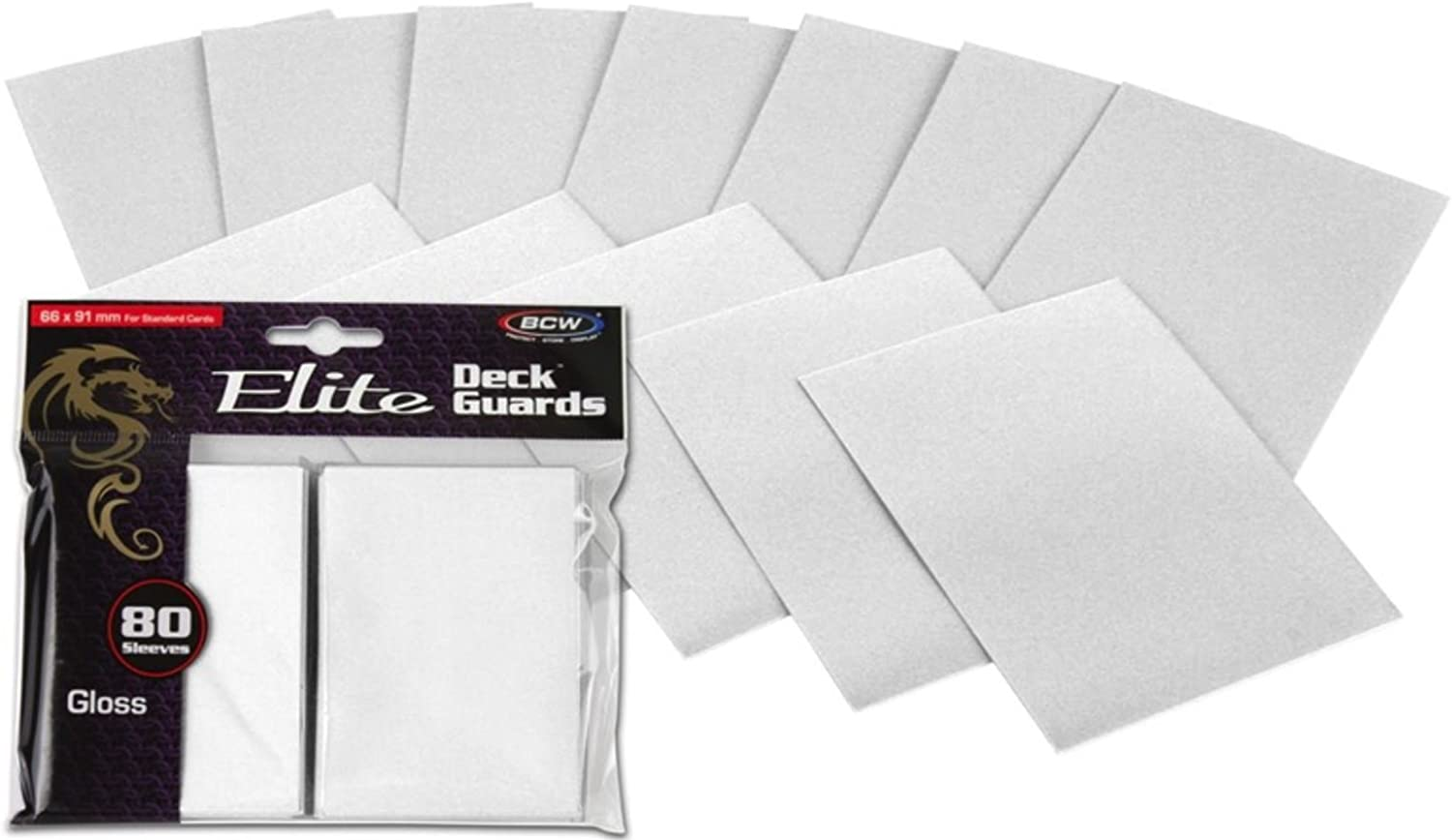 160 BCW Elite Deck Guard Sleeves Glossy White BCW Diversified