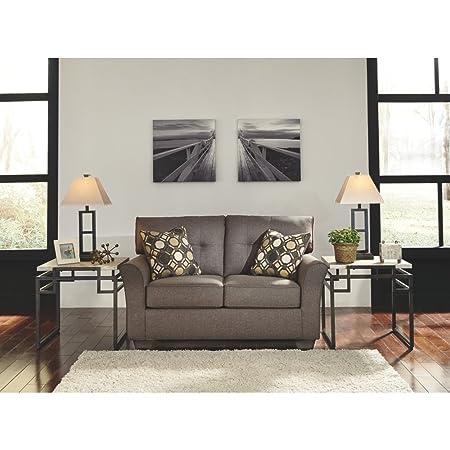 Ashley Furniture Signature Design – Tibbee Contemporary Upholstered Loveseat – Slate