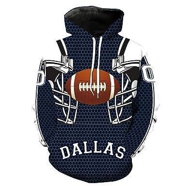 364d86dc7 Men s Long Sleeve Hooded 3D Print Cowboys(Olive Ball) Football Team  Pullover Hoodies(