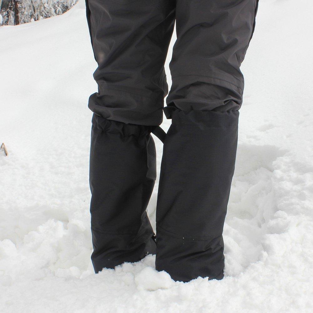 1 Pair Black Waterproof Ski Gaiters Hiking Climbing Biking Fishing Hunting Gaiters for men and women Leg gaiters-Standard