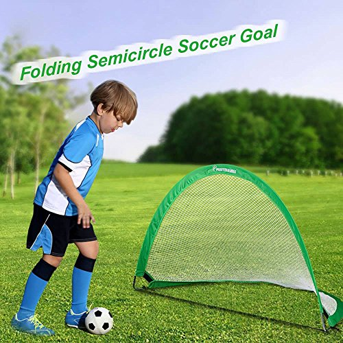Net Hexagonal Soccer (Soccer Goal Child Pop Up Soccer Goal 48x30x30 Inches with Soccer Semicircle Portable Folding with Carry Bag (Green))