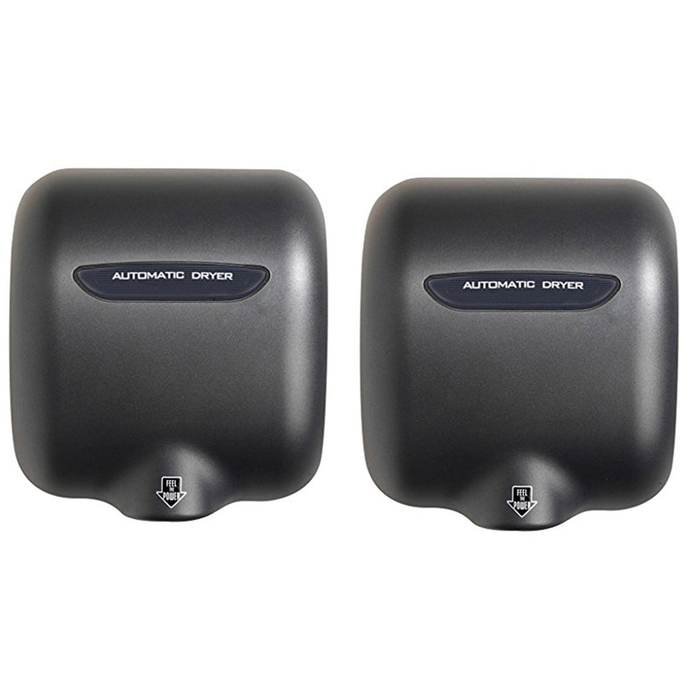 Miidii 1800W Stainless Steel Heavy Duty Automatic Wall-mounted Hand Dryer, Commercial Hot Hands Drying Device (2 Pack,Black)