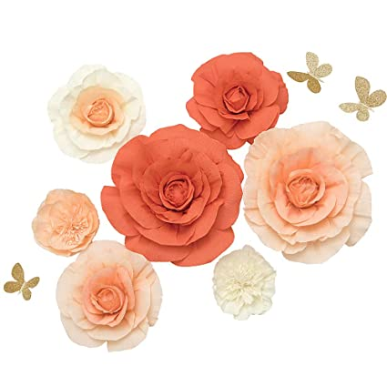 Ling S Moment Artificial Rose Paper Flowers W Butterfly Set Of 7