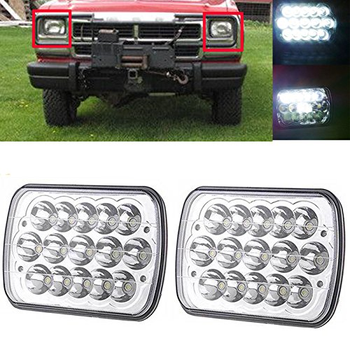 2PCs 7x6 LED Headlight Rectangular Headlamp 5X7 Sealed Beam H6014 H6052 H6054 6054 fits Dodge D350 W250 W150 D250 D150 Ramcharger Ram 50 Omni Colt - 2 Year Warranty - Dodge Ramcharger