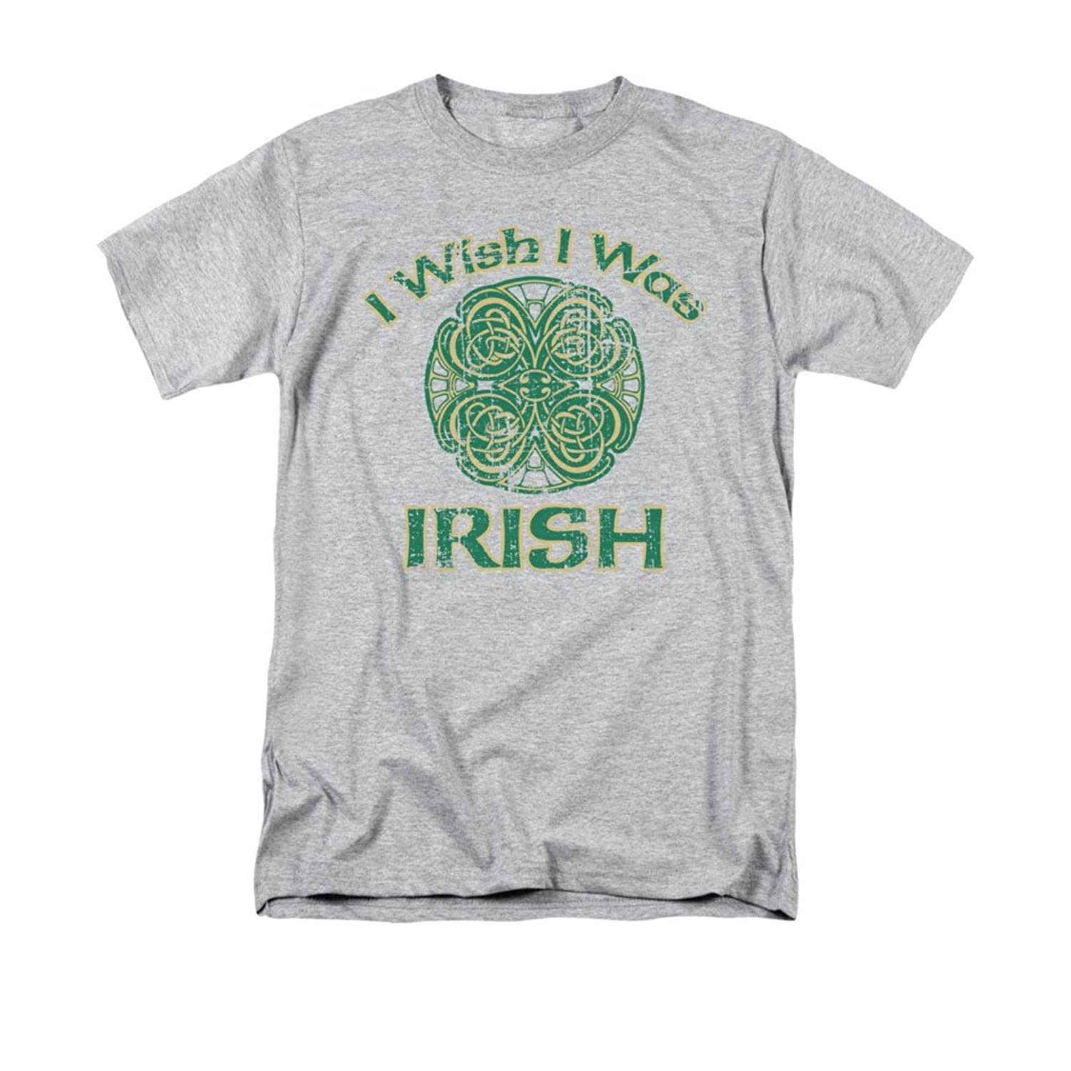 I Wish I Was Irish Celtic Four-Leaf Clover Design Funny Saying Adult T-Shirt Tee