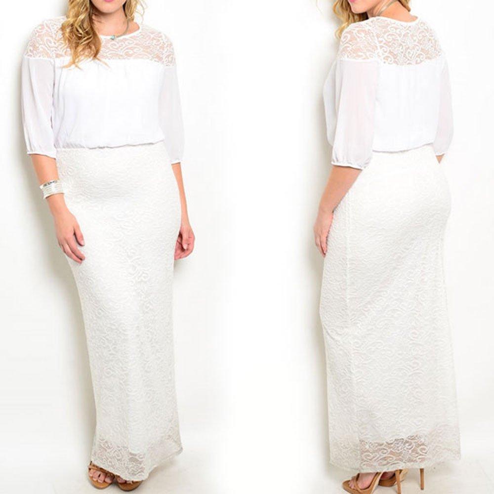 8516 - Plus Size 3/4 Sleeve Lace Chiffon Maxi Long Wedding Dress White
