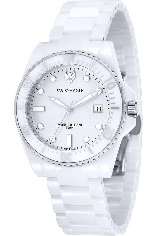 Swiss Eagle – se-9051 – 11 – Glacier – Armbanduhr – Quarz Analog – Zifferblatt weiß Armband Keramik weiß