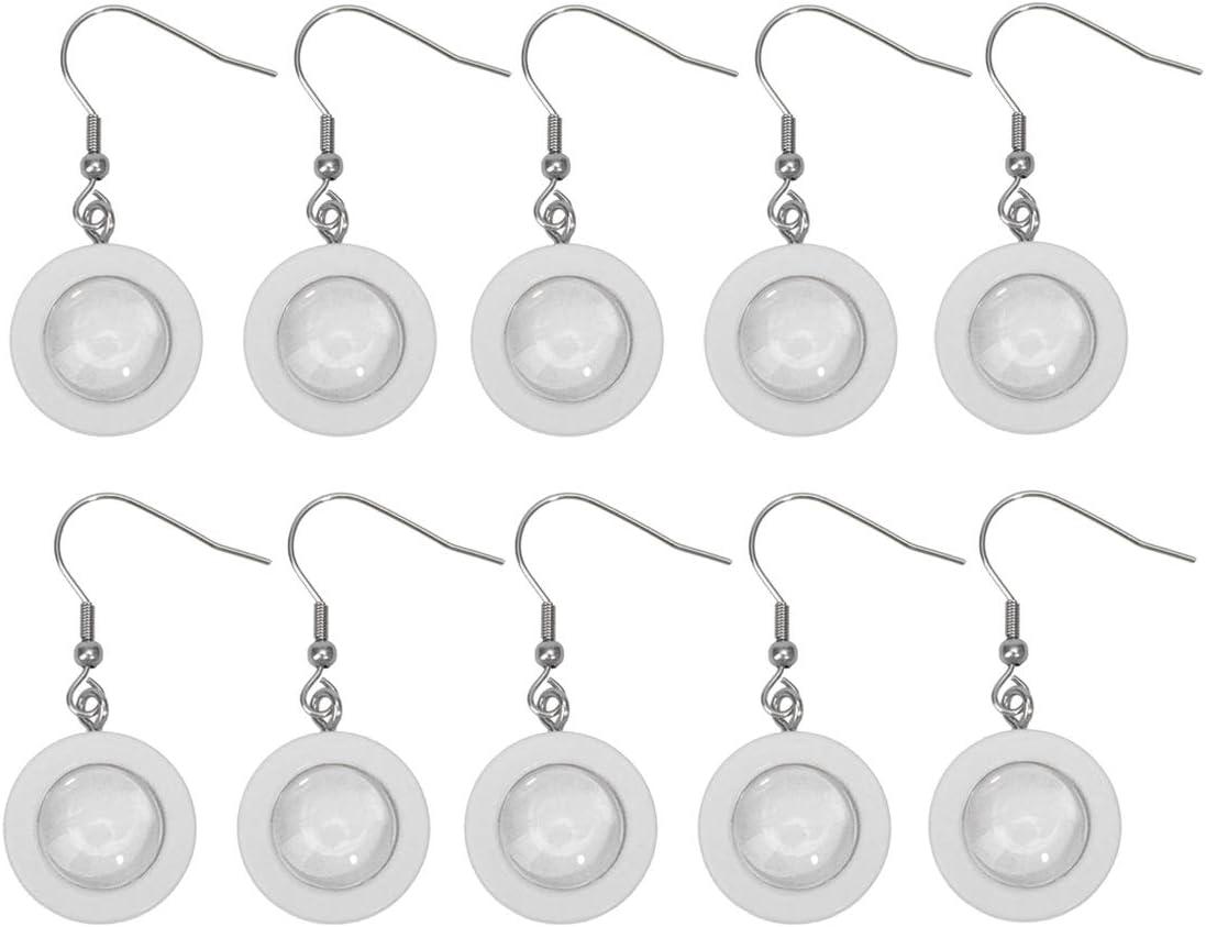 Bianco Artibetter castone Orecchini Base Rotonda in Legno vassoi per Gioielli Fai da Te con Adesivo in Vetro 12mm 10 Pezzi