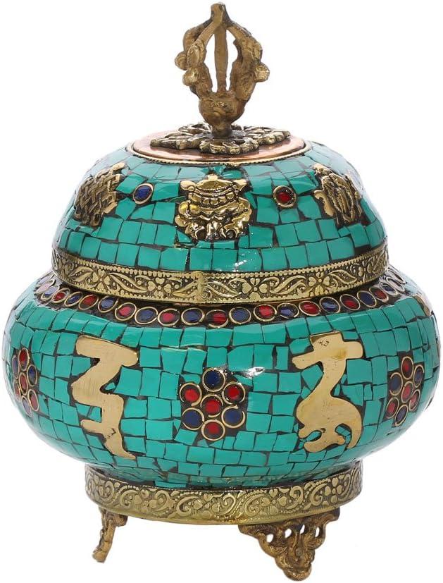NKlaus Caja de Cobre Rintschen para Incienso Mozaic Turquesa Hecho ...