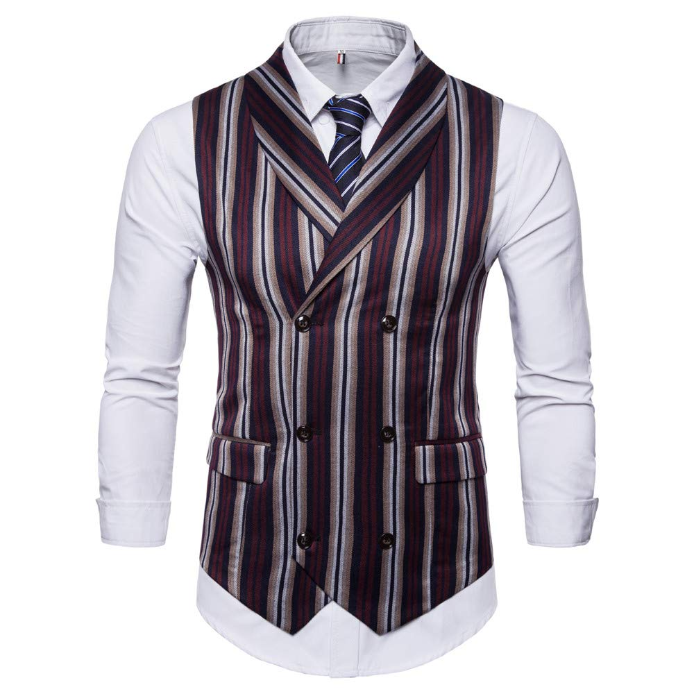 MODOQO Men's Lapel Casual Suit Vest Retro British Slim Fit Striped Waistcoat