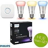 PHILIPS HUE LED Lampe 10W A60 E27 3-er Starter Set inkl. Bridge, app-gesteuert, dimmbar, 16 Mio Farben = 3 Leuchtmittel