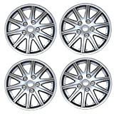 98 honda accord hubcaps - TuningPros WSC3-027S15 4pcs Set Snap-On Type (Pop-On) 15-Inches Metallic Silver Hubcaps Wheel Cover