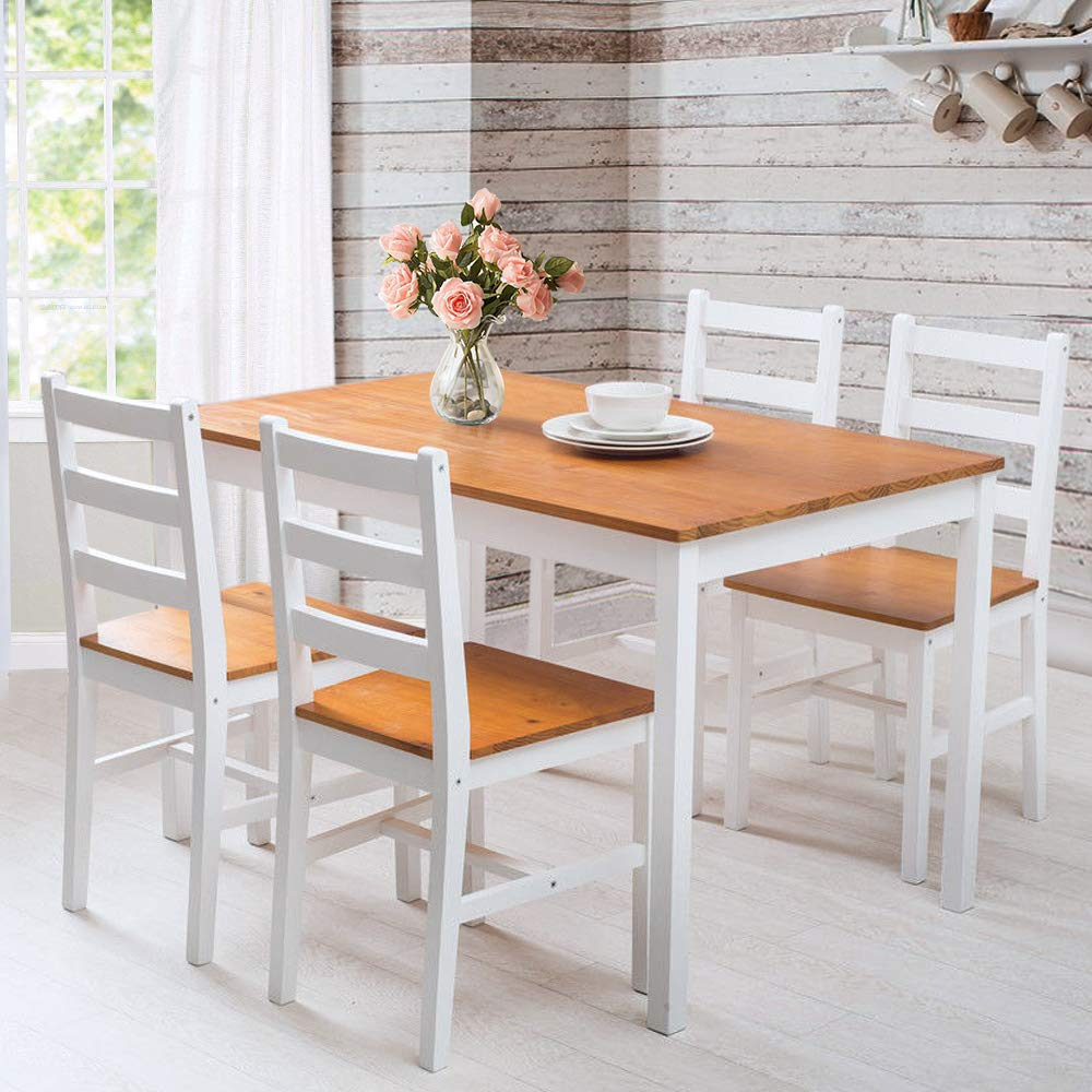LIFE CARVER Dining Table and Chairs Set 5 Solid Pine Large Size 118 * 75.5 * 73 cm Kitchen Furniture (Honey-White)
