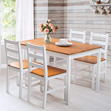 68f8a620ed Image Unavailable. Image not available for. Colour: LIFE CARVER Table and Chairs  Set 4 Dining Room Solid Pine Large ...