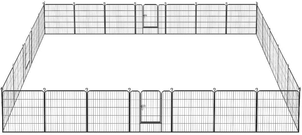 Topeakmart 32 in x 64 ft Decorative Garden Fence Outdoor Coated Metal Rustproof Folding Fencing Panel Landscape Patio Flower Bed Pool Border Fence Animal Barrier Section Black