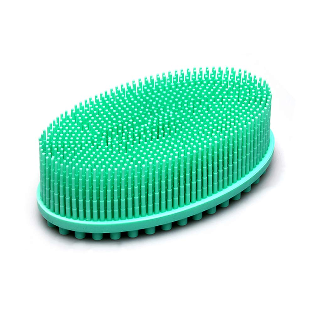 BagTu Bath Brush Soft for Babies Kid Elderly Women Patient Cradle Cap Shower Loofah Silicon Brush Multi-Use Face Body Massager Brush Shampoo Scalp with Grid Storage Bag (Green)