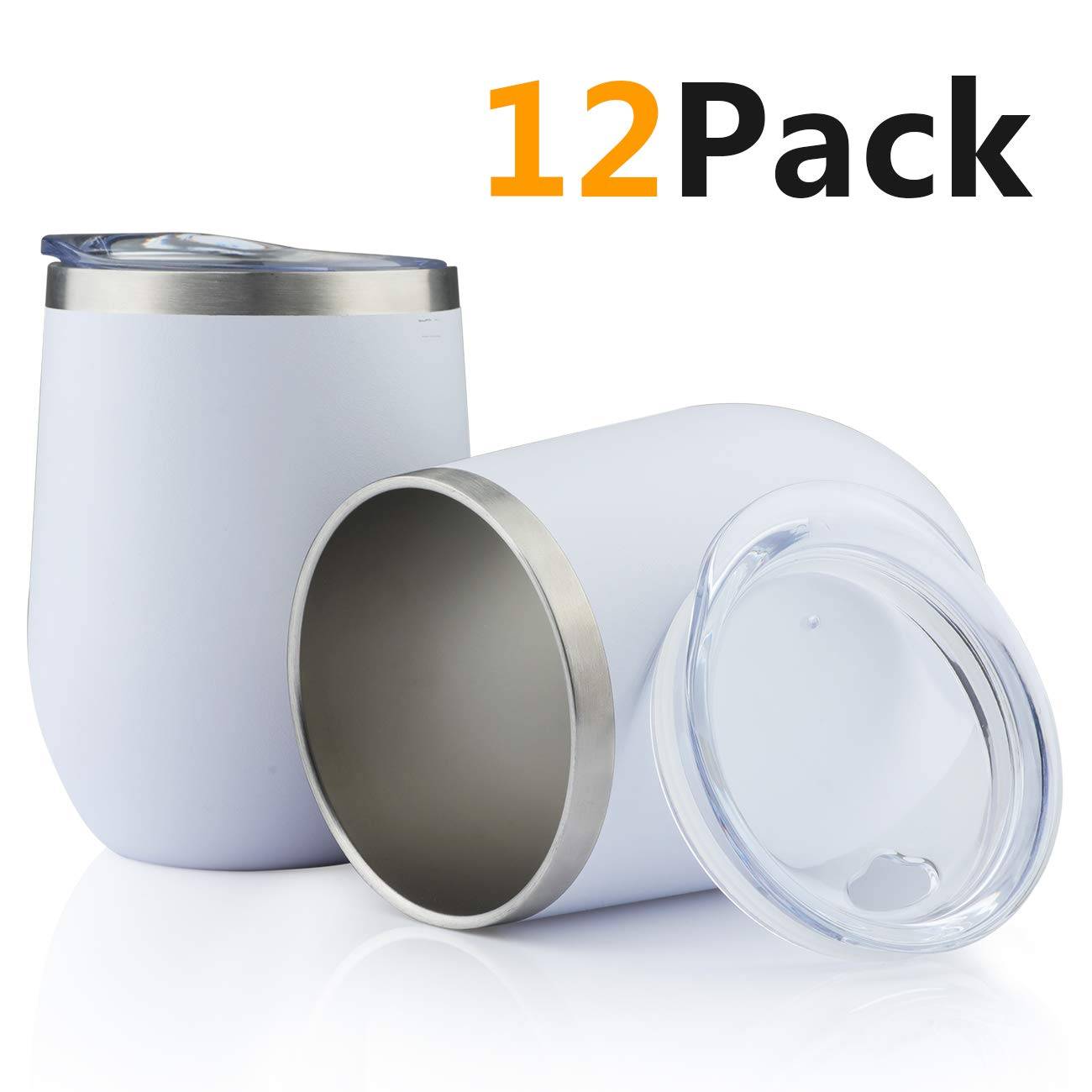 Jearey Stainless Steel Wine Glass Tumbler 12 oz Stemless Double Wall Vacuum Insulated Matte Wine Tumblers with Lid (White, 12 Pack)