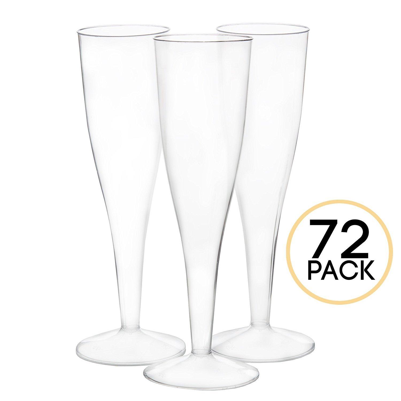 bulk one piece plastic champagne flute glasses for wedding or party 72 ebay. Black Bedroom Furniture Sets. Home Design Ideas